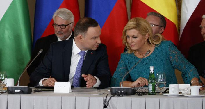 Donald Trump, Andzhey Duda i Kolinda Grabar-Kitarović na spotkaniu w Warszawie