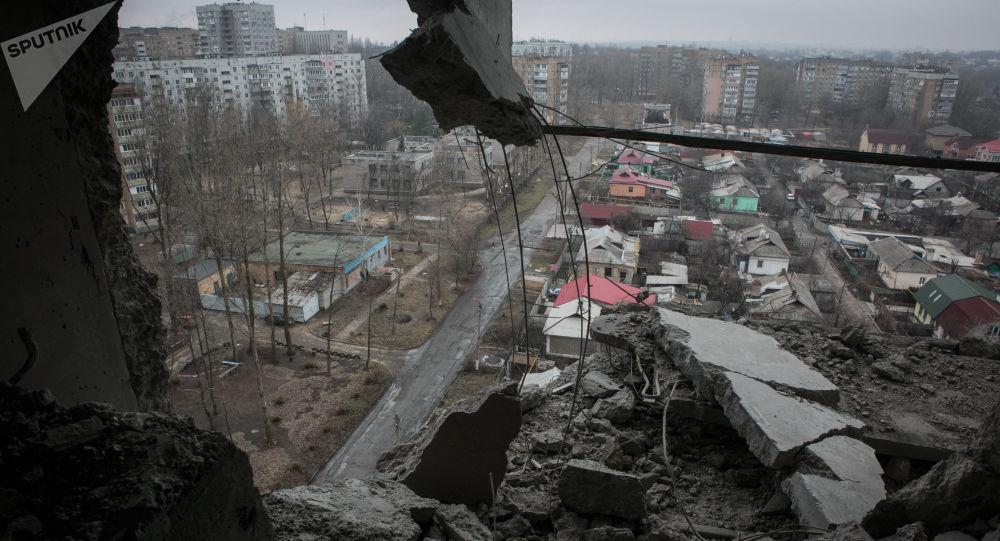 Skutki ostrzałów w Doniecku
