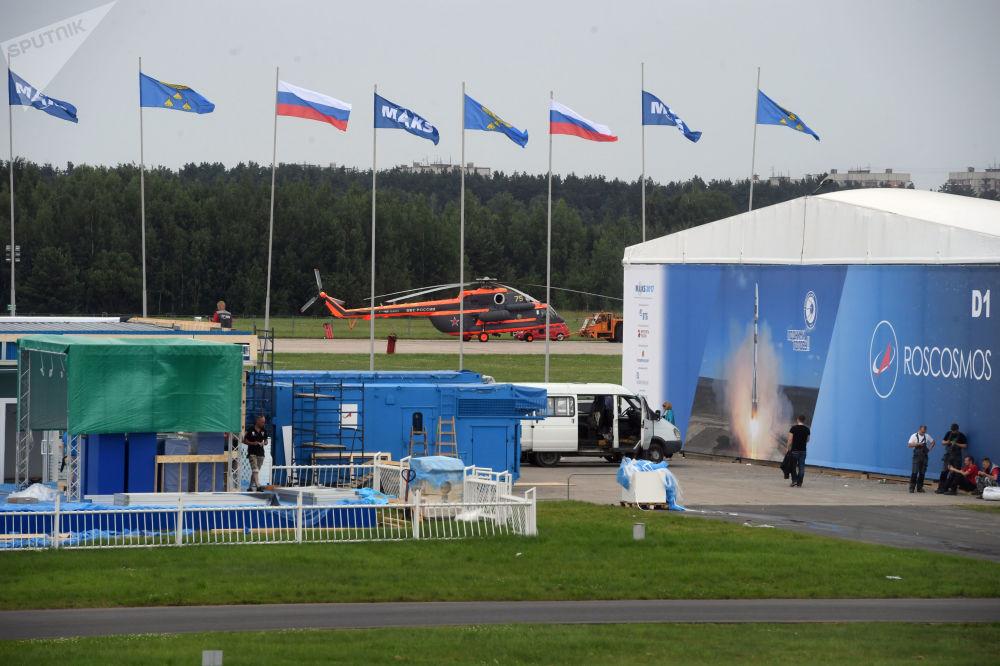 Przygotowania do otwarcia Międzynarodowego Salonu Lotniczego i Kosmicznego MAKS-2017 w Żukowskim.