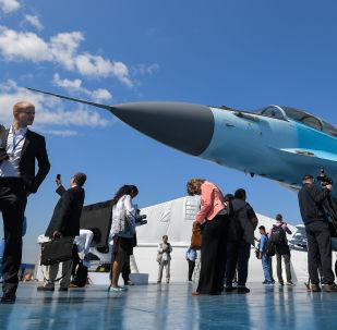 Myśliwiec MiG-35 na Międzynarodowych Targach Lotniczych i Kosmicznych MAKS-2017 w miejscowości Żukowskij