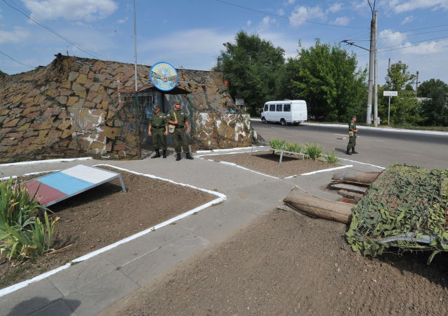 Punkt kontrolny rosyjskich sił pokojowych przy wjeździe do Bender