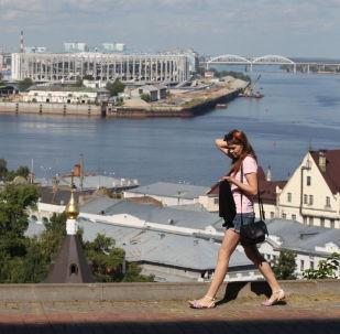 Widok z Kremlowskiego bulwaru w miejscu dopływu rzeki Oki do Wołgi w Niżnym Nowogrodzie