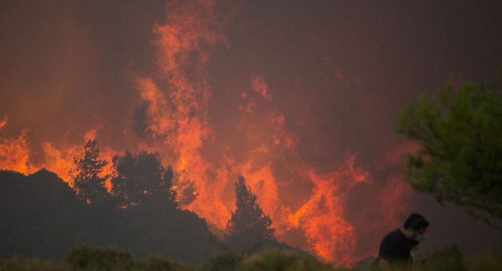 Pożar lasów w Grecji