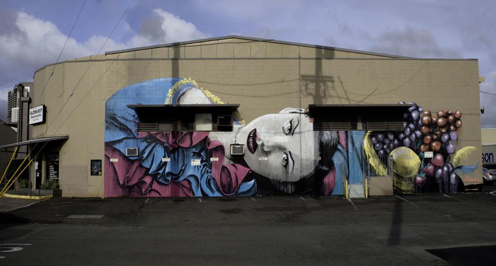 Portret kobiety australijskiego ulicznego artysty pracującego pod pseudonimem Rone, Hawaje