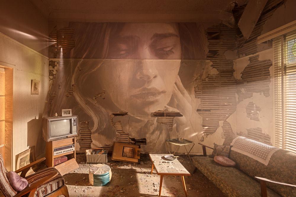 Portret kobiety australijskiego ulicznego artysty pracującego pod pseudonimem Rone, Australia