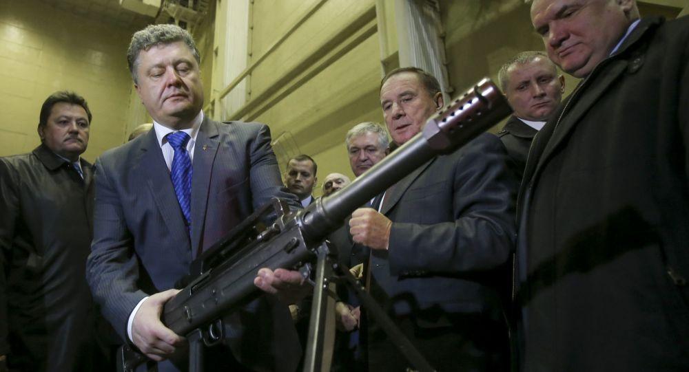Prezydent Ukrainy Petro Poroszenko w przedsiębiorstwie Jużmasz