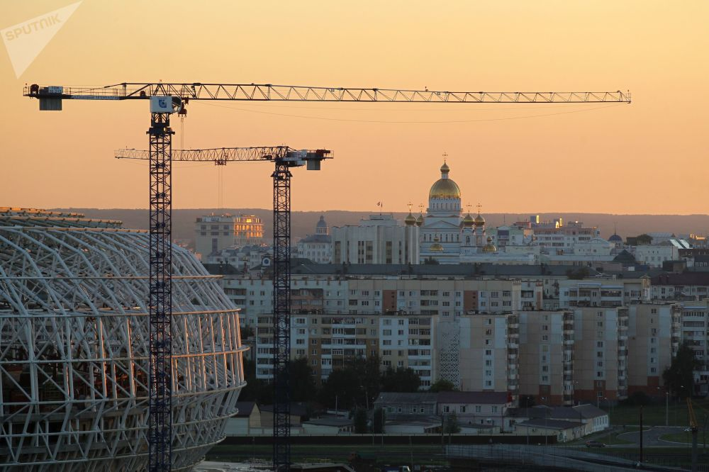 """Budowany stadion """"Mordowia Arena"""" w Sarańsku."""
