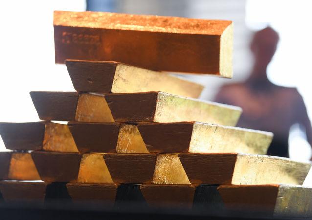 Sztabki złota w Centralnym Banku Niemiec we Frankfurcie nad Menem