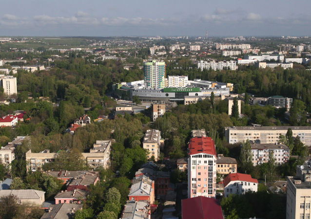 Widok z helikoptera na park im. Gagarina w Symferopolu