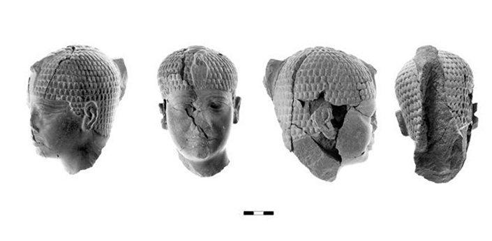 Gliniana głowa egipskiego faraona znaleziona w Chasor.