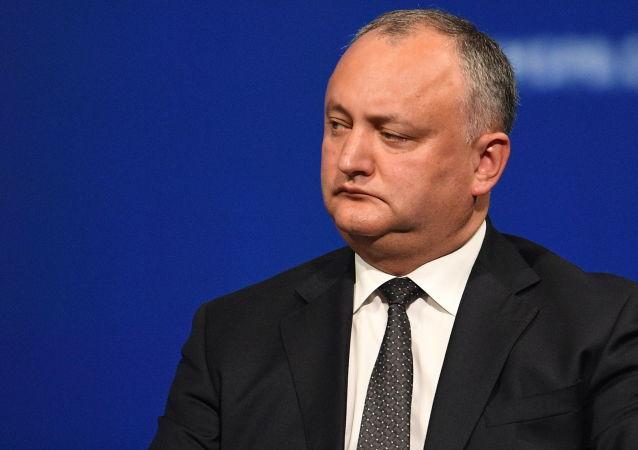 Prezydent Mołdawii Igor Dodon na posiedzeniu plenarnym Międzynarodowego Forum Ekonomicznego w Petersburgu w 2017 roku