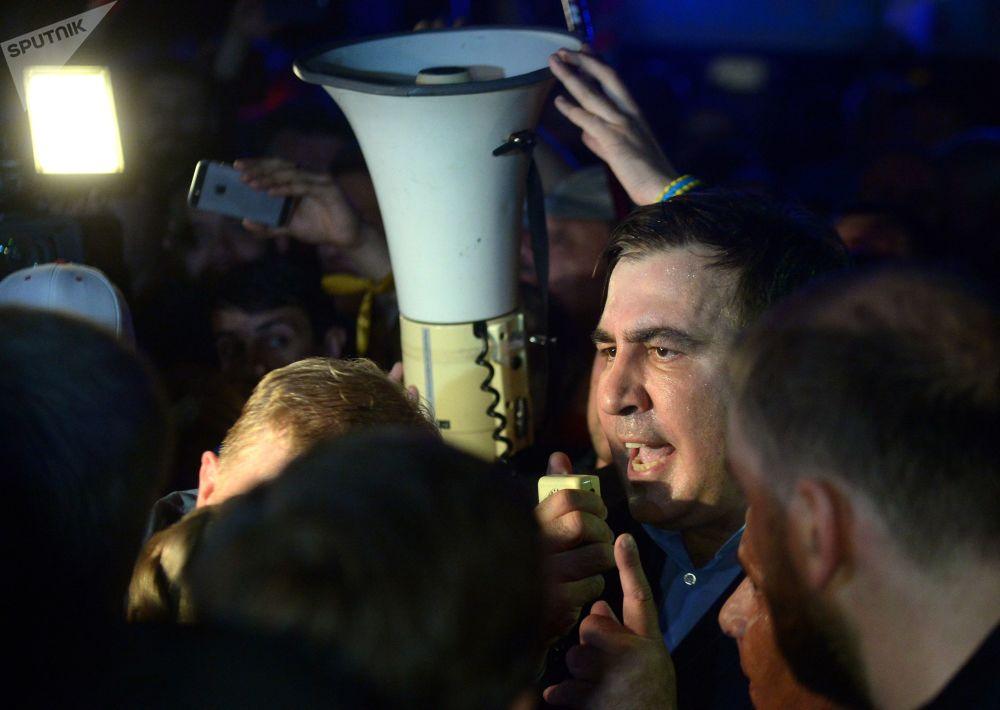 Były prezydent Gruzji Michaił Saakaszwili na ukraińsko-polskiej granicy