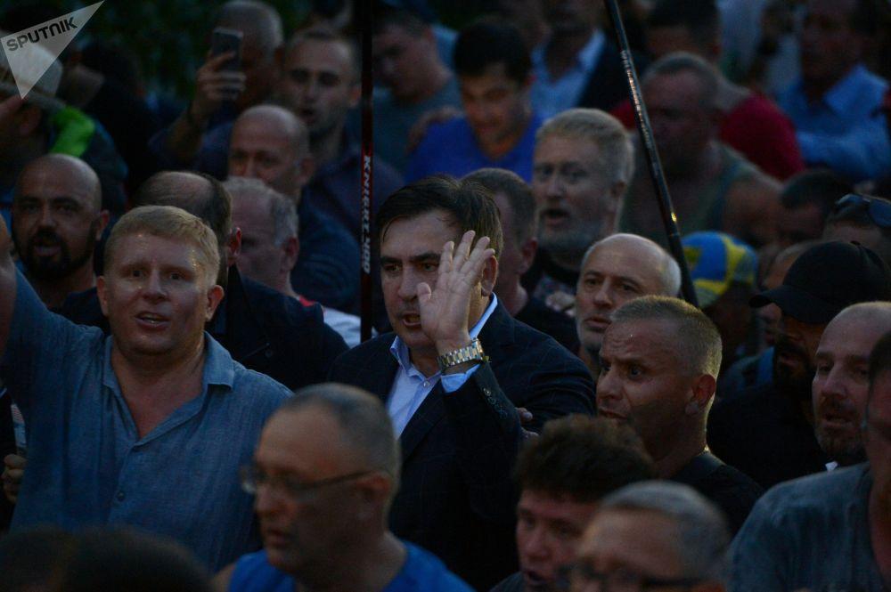 Były prezydent Gruzji Michaił Saakaszwili przy przejściu granicznym Szeginie