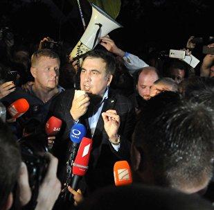 Michaił Saakaszwili na granicy polsko-ukraińskiej