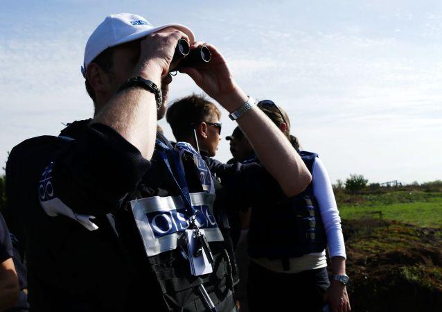 Obserwatorzy OBWE we wsi Pietrowskoje podczas wycofywania sił DRL