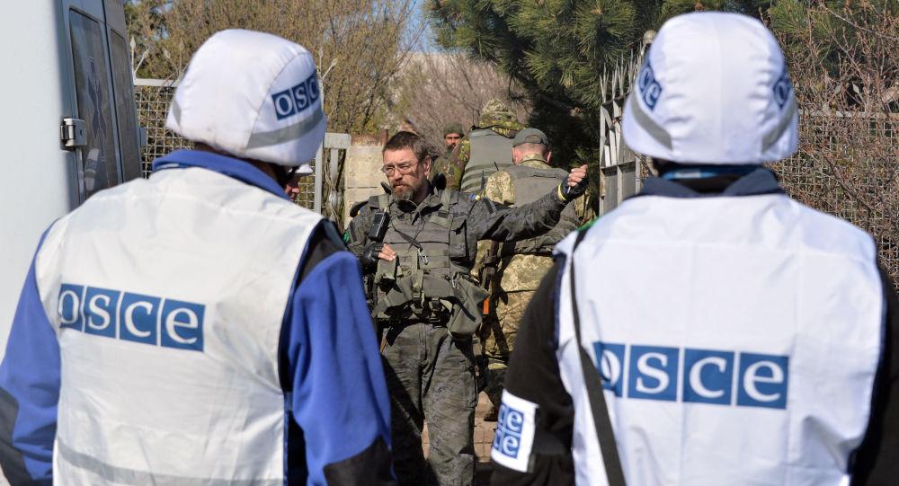Obserwatorzy OBWE rozmawiają z ukraińskim wojskowym
