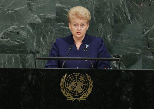Prezydent Litwy Dalia Grybauskaite na sesji Zgromadzenia Ogólnego ONZ w Nowym Jorku