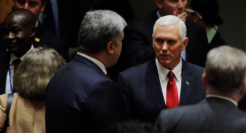 Wiceprezydent USA Michael Pence i prezydent Ukrainy Petro Poroszenko