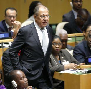 Szef MSZ Rosji Siergiej Ławrow na posiedzeniu Zgromadzenia Ogólnego ONZ