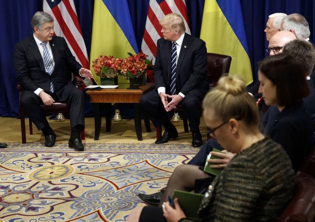 Prezydent Ukrainy Petro Poroszenko i prezydent USA Donald Trump w czasie spotkania w ramach sesji Zgromadzenia Ogólnego ONZ w Nowym Jorku