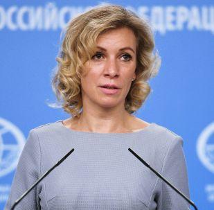 Rzeczniczka MSZ Rosji Maria Zacharowa podczas briefingu w Moskwie