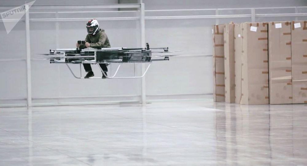 """Demonstracja koncepcji pasażerskiego urządzenia latającego opracowanego przez koncern """"Kałasznikow"""""""
