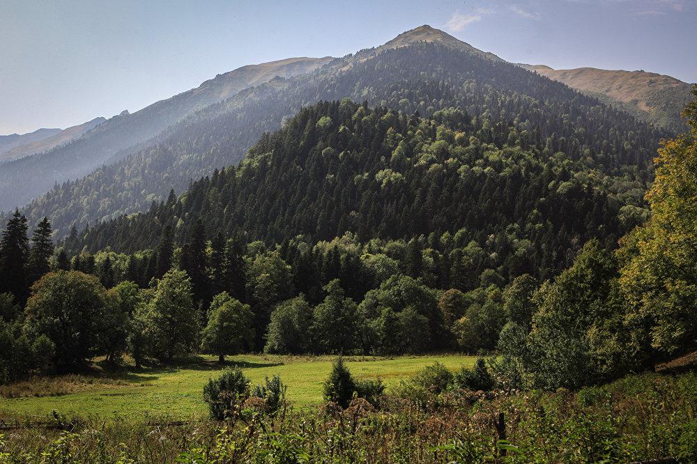 Góry na terenie wschodniej części Kaukaskiego Rezerwatu Biosfery (Republika Karaczajo-Czerkiesji).