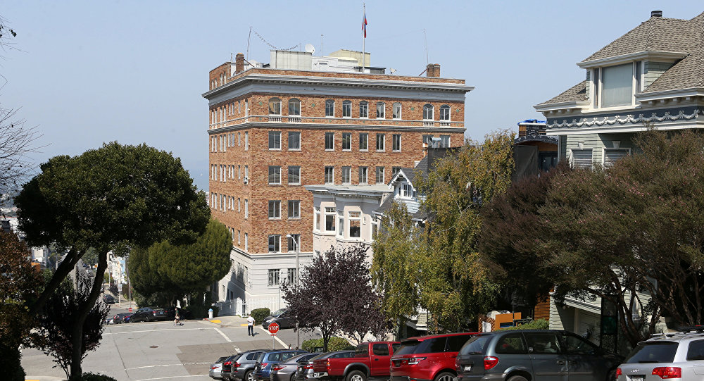 The Russian Consulate building, where smoke was seen coming from its roof, is seen in San Francisco, California September 1, 2017