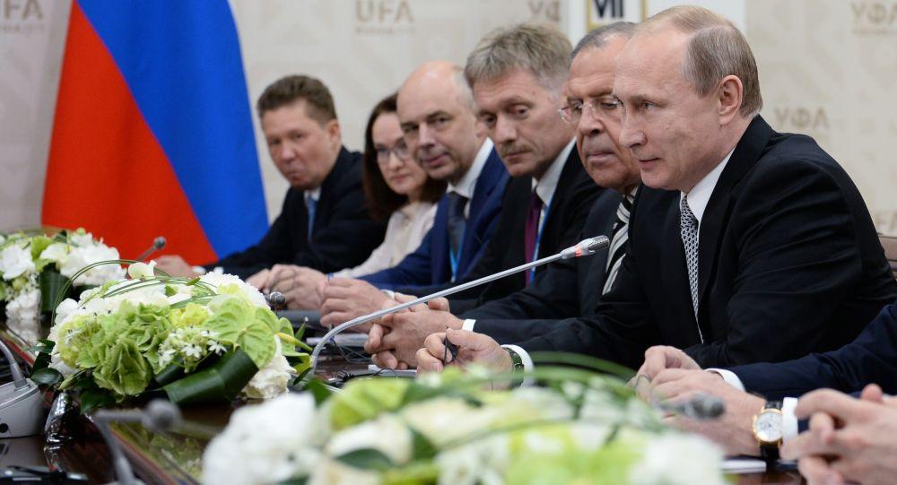 Prezydent Rosji Władimir Putin na spotkaniu z przewodniczącym ChRL Xí Jìnpíngiem w Ufie