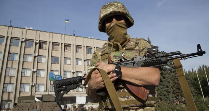 Ukraiński żołnierz w obwodzie donieckim