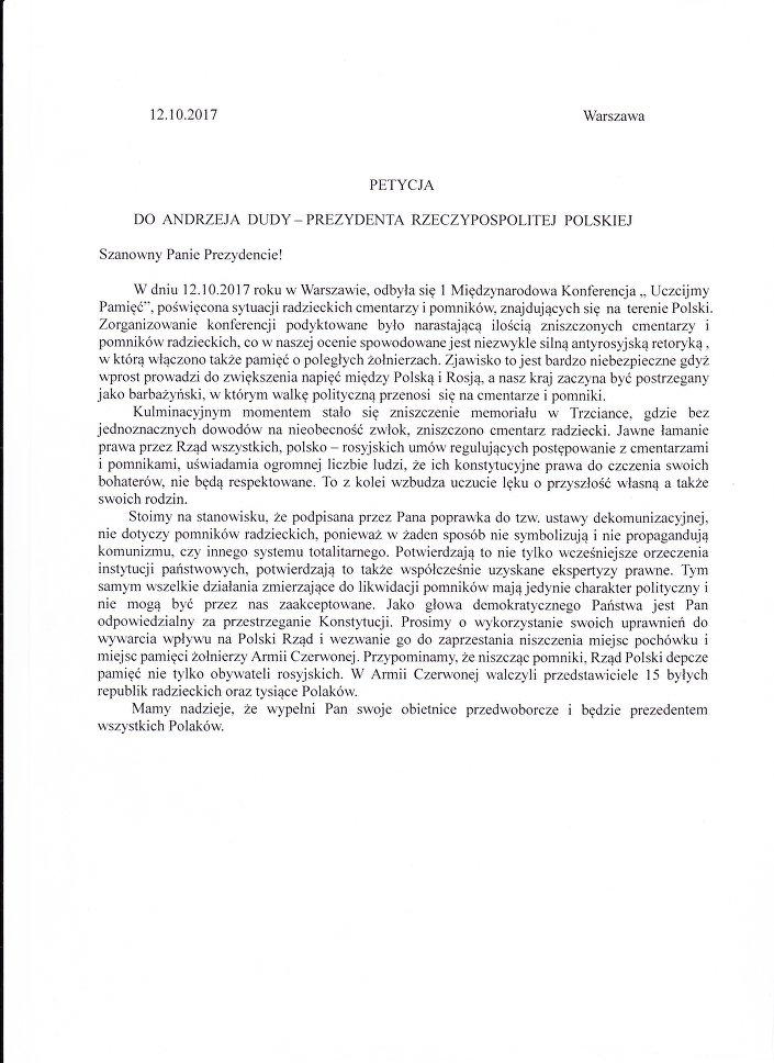 Petycja uczestników konferencji Uczcijmy Pamięć do prezydenta Andrzeja Dudy