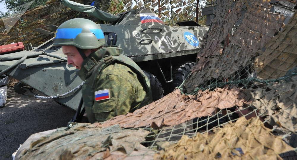 Punkt kontrolny rosyjskich sił pokojowych przy wejściu do miasta Bendery, Naddniestrze