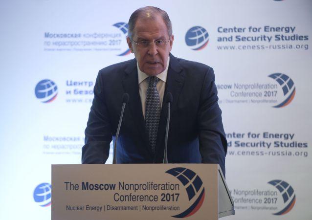 Minister spraw zagranicznych Federacji Rosyjskiej Siergiej Ławrow występuje na Moskiewskiej Konferencji ws. Nierozprzestrzeniania się Broni Atomowej 2017