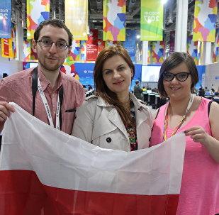 Delegacja z Polski w Centrum Prasowym