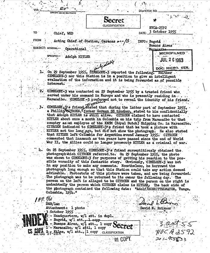 Fragment z raportu CIA o ewentualnej obecności Hitlera w Ameryce Południowej