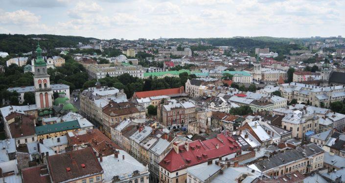 Widok na starą część miasta Lwów