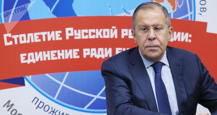 Minister spraw zagranicznych Federacji Rosyjskiej Siergiej Ławrow na Światowej Konferencji Rosyjskich Rodaków Mieszkających Za Granicą