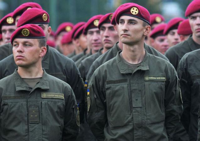 Żołnierze Sił Zbrojnych Ukrainy w czasie międzynarodowych ćwiczeń wojskowych Rapid trident-2016