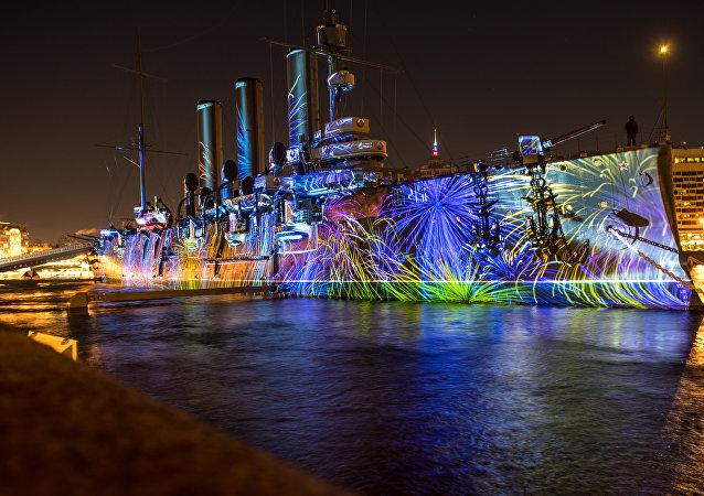 Krążownik Aurora w Petersburgu.