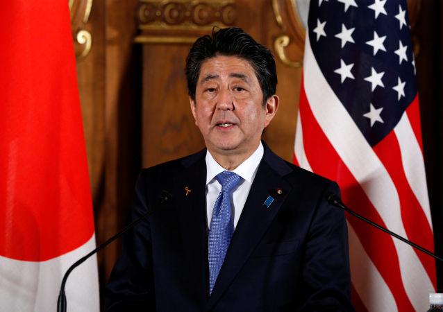 Japoński premier Shinzo Abe na wspólnej konferencji prasowej z prezydentem USA Donaldem Trumpem w Tokio