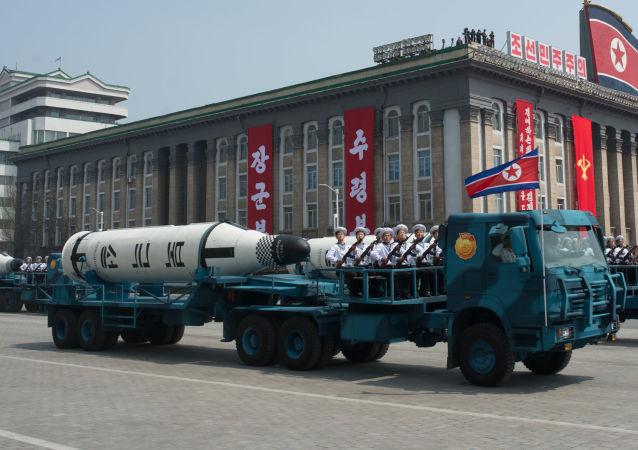 Rakiety balistyczne okrętów podwodnych Pukguksong-1 na defiladzie wojskowej w Pjongjangu