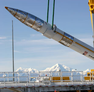 Pocisk przechwytujący naziemnego bazowania w bazie wojskowej w Fort Greeley, Alaska, USA