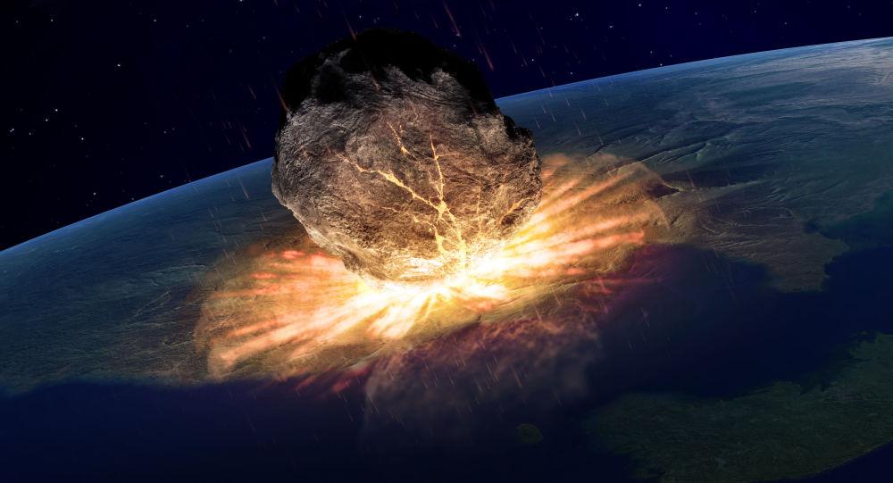 Ilustracja upadku asteroidy na Ziemię