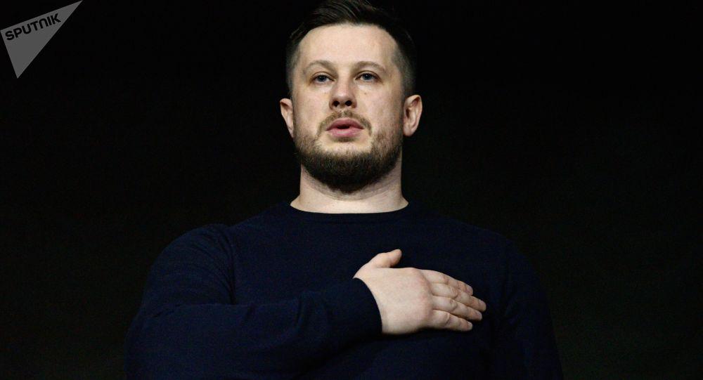 Przewodniczący partii Korpus Narodowy Andrij Biłecki w Kijowie