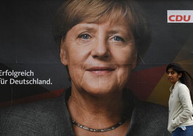 Angela Merkel na plakacie wyborczym