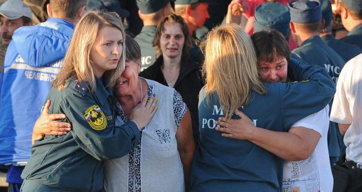 Ukraińscy uchodźcy na lotnisku w Czelabińsku