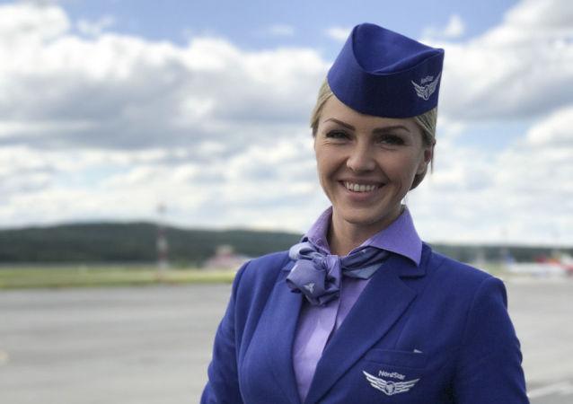 Miss Publiczności międzynarodowego konkursu Top Stewardess 2017 Jekaterina Galimowa z linii lotniczych Nord Star.