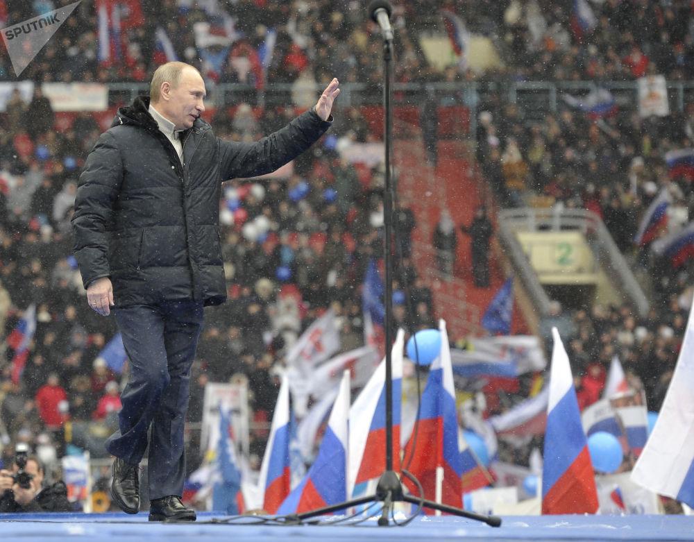 Premier Władimir Putin przemawiał na wiecu do zwolenników Obrony kraju, 2012 rok