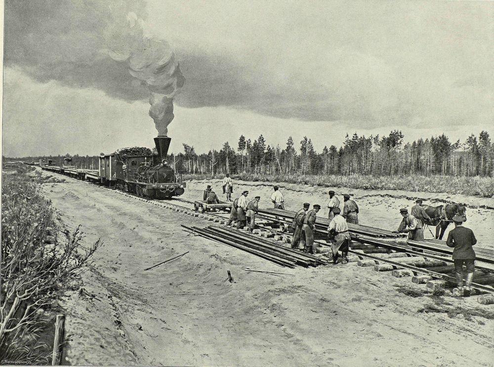 Układanie torów Kolei Transsyberyjskiej. 1899 rok.