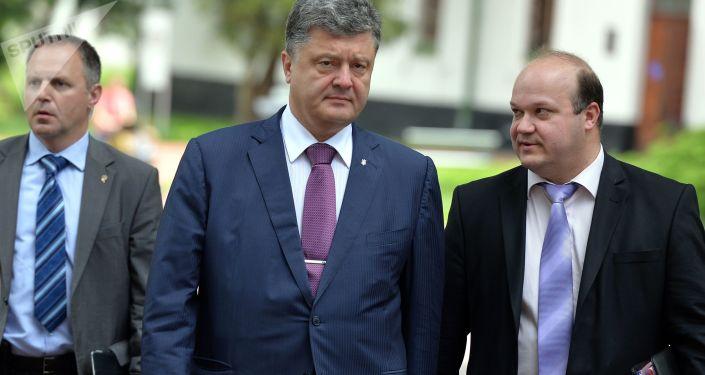 Prezydent Ukrainy Petro Poroszenko i ambasador Ukrainy w USA Walery Czałyj